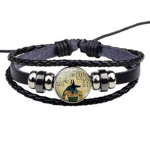 Lord of The Underworld Anubis Glass Cabochon Egyptian Jewelry Black Braided Leather Bracelet Men Women Gift(China)