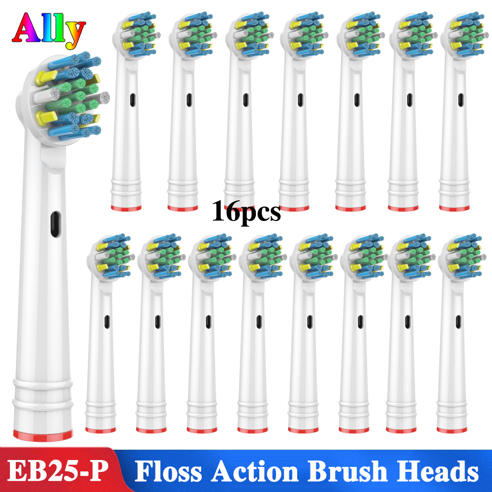 16PCS EB25 For Oral B Floss Action Replacement Brush Heads For Braun Oral B Triumph Vitality pro 2000 7000 3000 4000 5000 6000 image