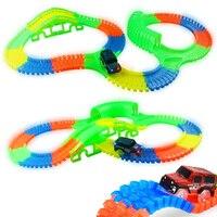 Pista de carreras brillante 5 pista de luz Led COCHE Flexible brillante pistas de juguete/162/165/220/240 carrera Flexible de coche LED