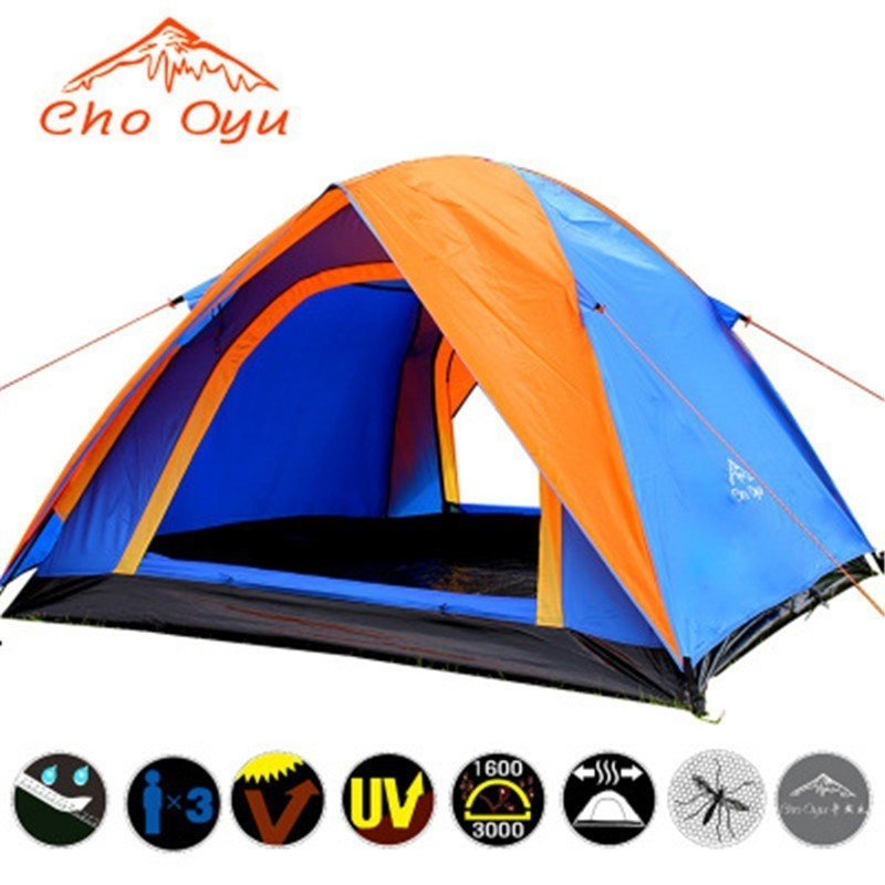 Top Quality Double Layer Camping Tent 3 4 Person with Double Door All Weather Rainproof Seam