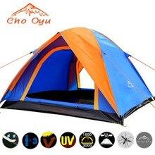 خيمة تخييم بطبقة مزدوجة عالية الجودة من 3 4 أشخاص مزودة بباب مزدوج في جميع الأحوال الجوية مضادة للمطر ومزودة بشريط في الهواء الطلق 200x180x140cm