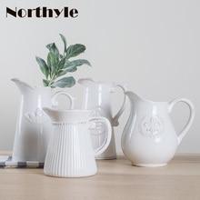 European classical ceramic vase wedding decoration porcelain flowerpot  for flowers home clay handmade flower bottle