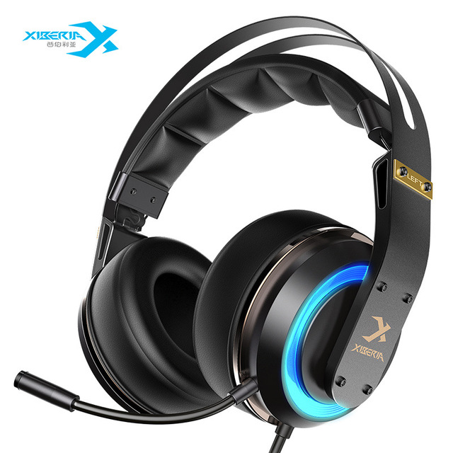 XIBERIA T19 USB Gaming Headphones with Microphone 7.1 Surround Sound Stereo Glowing HiFi Microphone 3D surround LED Headphone