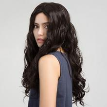 Female Chemical Fiber Hair Wig Small Wave Long Curly Fluffy Black Wigs Women Natural Hairpiece for Party emmor fluffy wave long real natural hair attractive full bang capless hair wigs for women aubum brown 60cm
