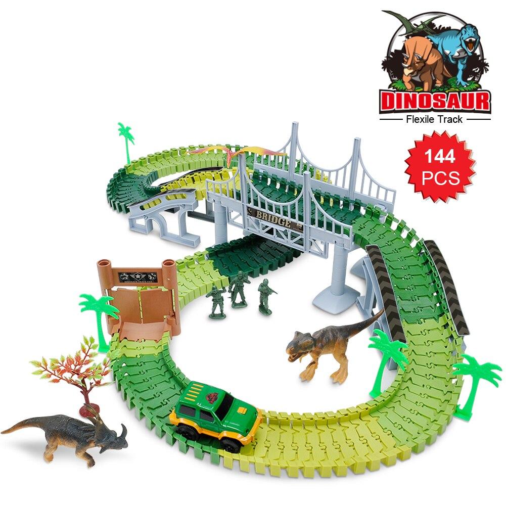144 pcs Militaire Modèle DIY Assemblage Dinosaure Piste De Voiture Jouets En Plastique Électrique Enfants Piste Blocs de Construction Course Sur Piste Jouets