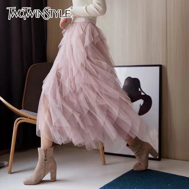 TWOTWINSTYLE Asymmetrical Mesh Skirts For Women High Waist Ankle Length Skirts Female Elegant Korean Fashion 2020 Clothing New