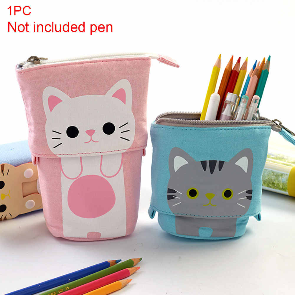 Pen Box Zipper Gift Retractable Holder Cute Girls Boys School Pencil Case Multifunctional Stationery