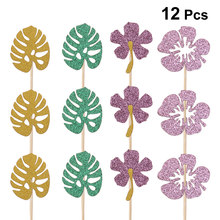 12 pcs Hawaiian Cake Topper Gold Card Cupcake Topper Picks Tropische Bladeren Cake Topper voor Bruiloft Bithday(China)