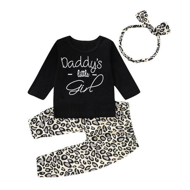 ff5abb0b Daddy's Little Girl Newborn Baby Girl Long Sleeve Cotton T-shirt Tops  Leopard Pant Headband