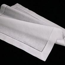 """N002 18: 120 ชิ้นสีขาว Hemstitch ผ้าเช็ดปาก ผ้าลินิน 55/45 Cotton Blend 18 """"x 18"""" Ladder Hemstitch ผ้าเช็ดปาก"""