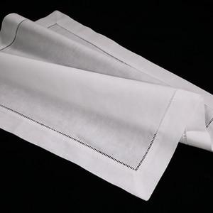 "Image 1 - N002 18: 120 ชิ้นสีขาว Hemstitch ผ้าเช็ดปาก ผ้าลินิน 55/45 Cotton Blend 18 ""x 18"" Ladder Hemstitch ผ้าเช็ดปาก"