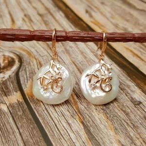 Image 3 - LiiJi ייחודי אמיתי לבן/ורוד מטבע צורת הבארוק פרל 20 21mm Drop עגילים לנשים זרוק משלוח