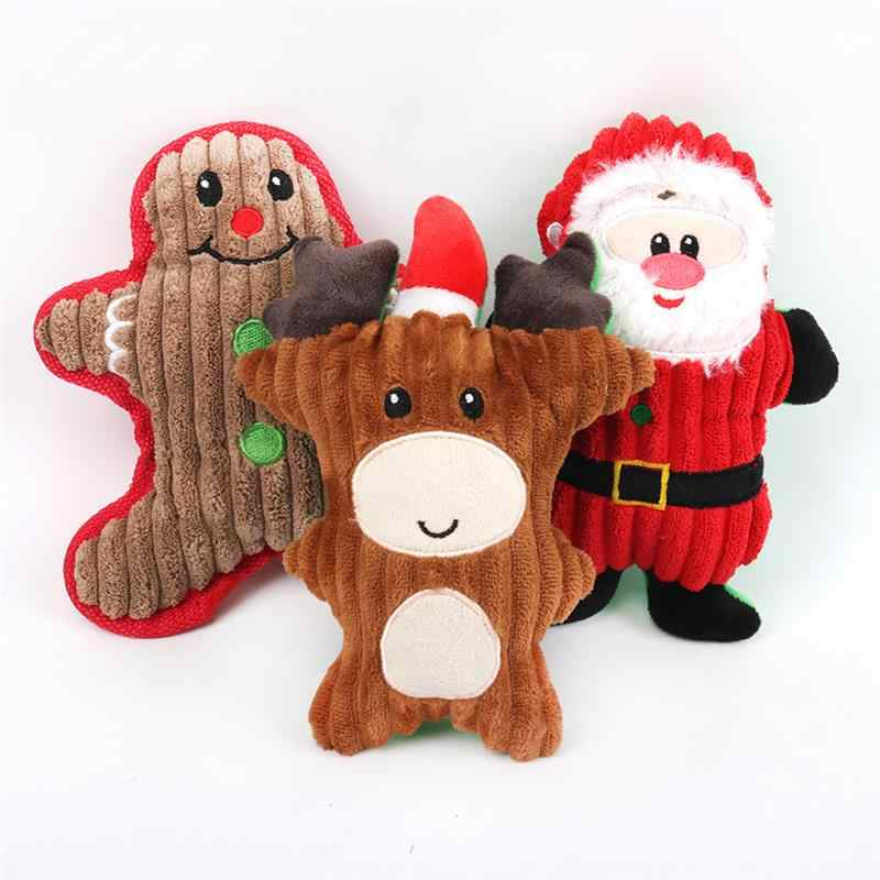 New Christmas Santa Claus Pet Dog Toys Chew Squeaker Pet Plush Toys For Dogs Cute Biting Rope Sound Toys