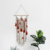 GUUUUO New Macrame Wall Art Hand made Dyed Cotton Wall Hanging Tapestry Wedding Outdoor Lawn Wedding Party Backdrop Decoration