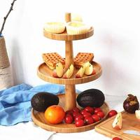 Simple Bamboo Tray Tableware Decoration Double Layer Cake Plate Wedding Party Fruit Tray Candy Dishes Pastry Dried Fruit Plate