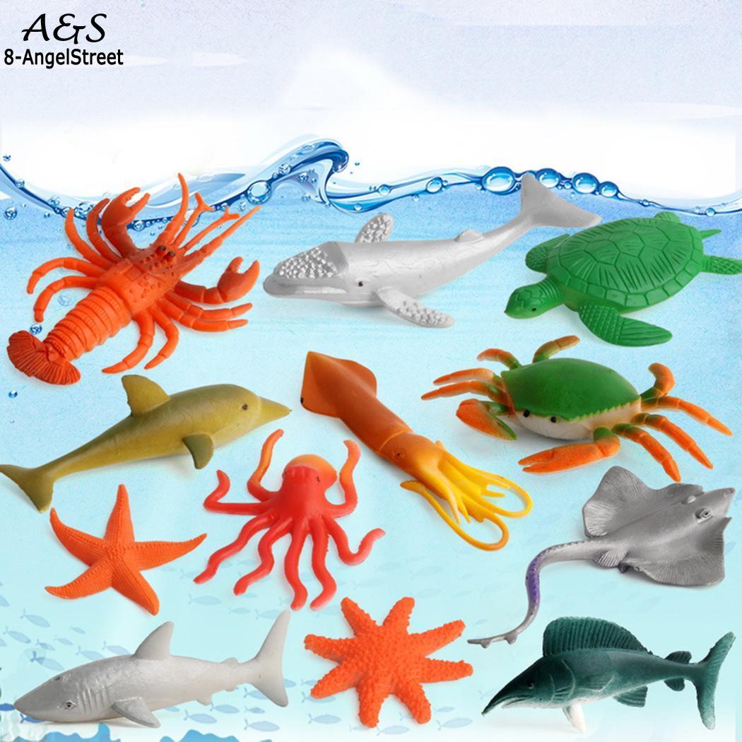 12pcs Marine Ocean Creatures Sea Animals Figure Toys Kids