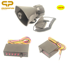 Alarm Car System Police Siren Sound Loud Speaker 100W Electric Horn MIC PA Megaphone 12V for  VW Bora B5 Jetta Train