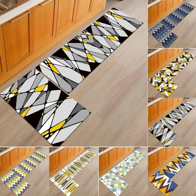 Creative New Restaurant Kitchen Rug 2pcs Geometric Door Mat Multi Color Washable Thin Modern