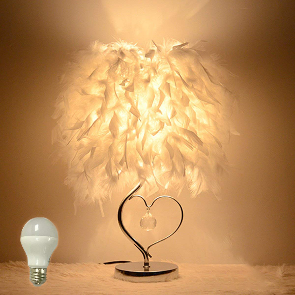 Small table light Thick feather light, is the love of warm ...