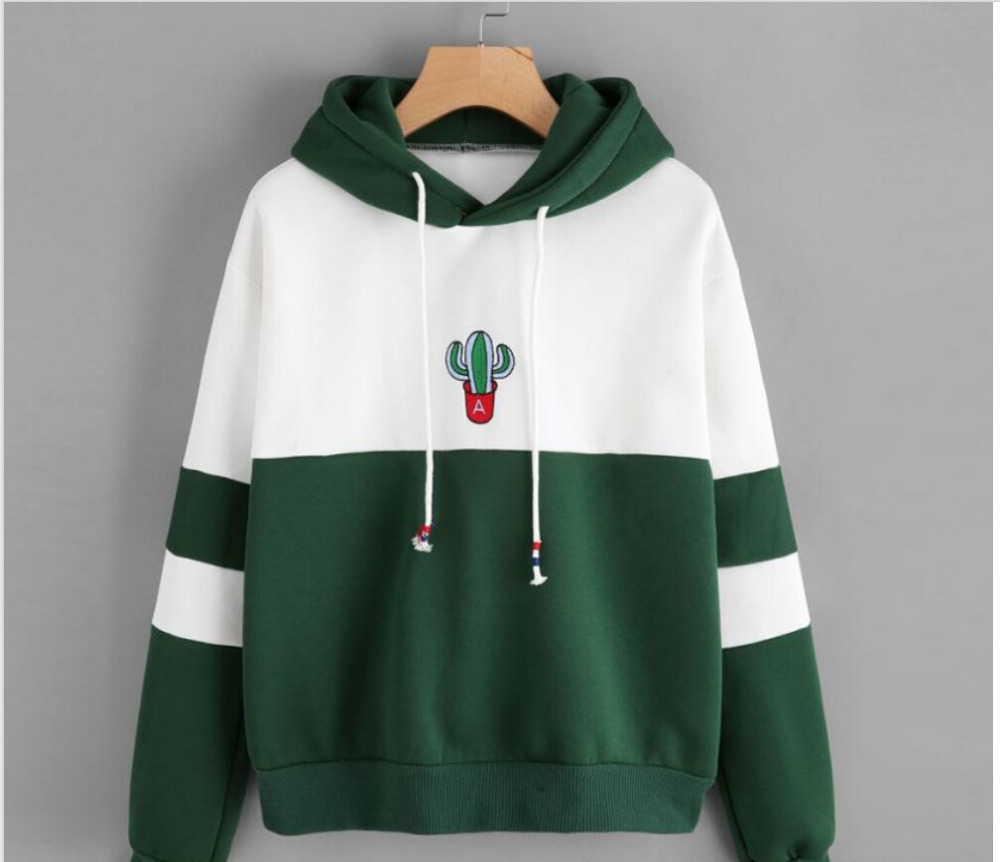Women Long Sleeve Pullover Hooded Cactus Printed Sweatshirt Casual Winter Hoody Hoodies Sweatshirt For Women Plus Size S To XXL