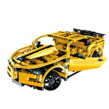 Cada Double E 419Pcs Yellow Technic 1/18 Scale DIY Remote Control Car RC Assemble Building Blocks Intelligence Toys For Children(China)