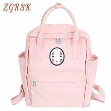 Girls Small Fresh Backpackbags Canvas Both Shoulders Bags Woman High Middle School Wind Teenagers Students Backpack Bag цена