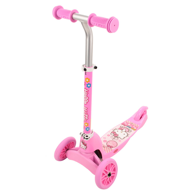 10% LK712 HelloKitty Children 3 Wheels Foot Scooter Pink Portable Kick Scooter DIY 2 In 1 T-Bar Twist Scooter for 3-8years Girls