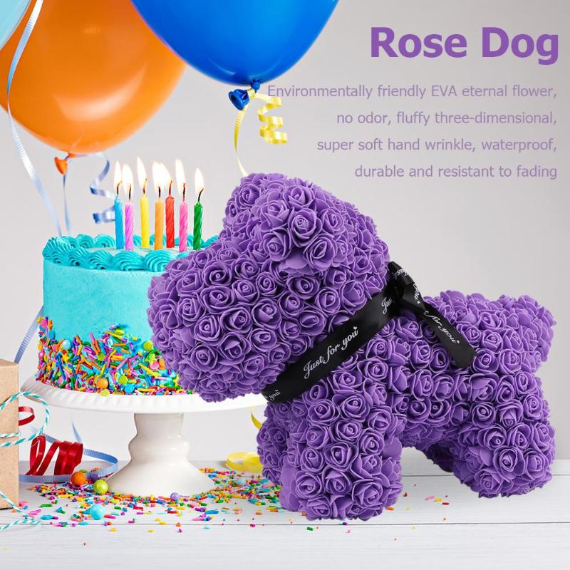 Diy Wedding Anniversary Gifts: Valentines Gift 38cm Romantic Artificial Rose Dog For