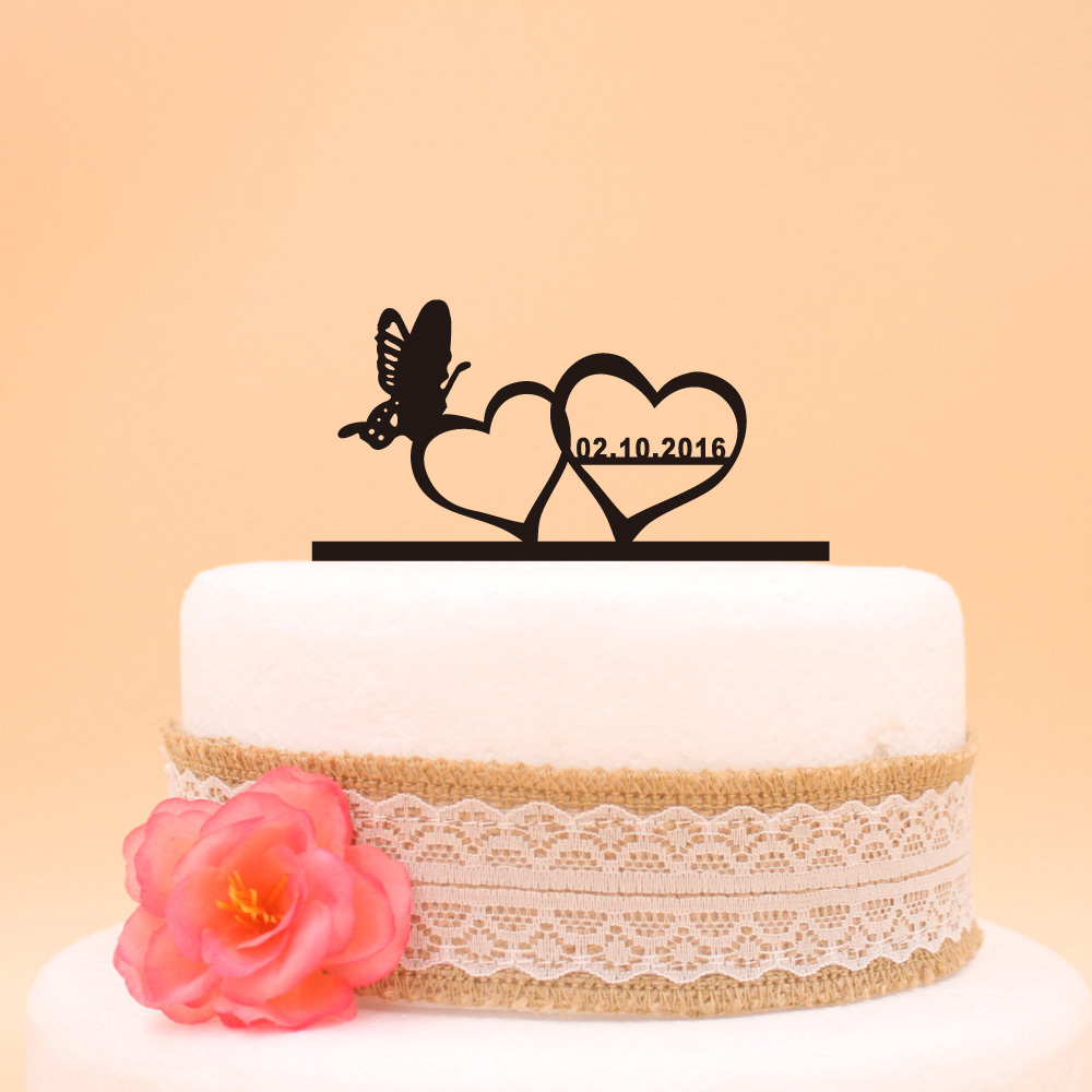 Us 8 54 5 Off Personalized Wedding Cake Topper Double Heart Butterfly Design Cake Accessory Custom Last Name Wedding Cake Topper For Couple In Cake
