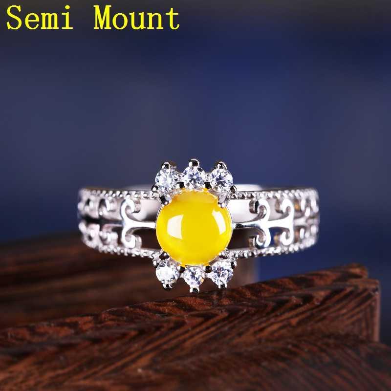 925 แหวนเงินแท้กึ่ง Mount หมั้นงานแต่งงานแหวนคริสตัล 6X6 มม. รอบ Cabochon การตั้งค่าสำหรับ amber DIY หิน