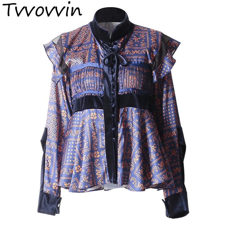 TVVOVVIN 2019 spring new retro printing pleated ruffled stitching round neck stand collar velvet shirt L867