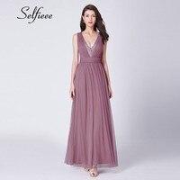 Vestidos De Fiesta New Fashion Dust Pink Summer Party Dress Elegant A Line V Neck Sleeveless Sequined Long Tulle Dress Women