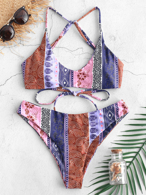 ZAFUL Sexy feuille haut de maillot de bain côté cravate maillots de bain dos nu Triangle maillots de bain vert feuilles Bikinis ensemble femmes Sexy Strappy Bandage