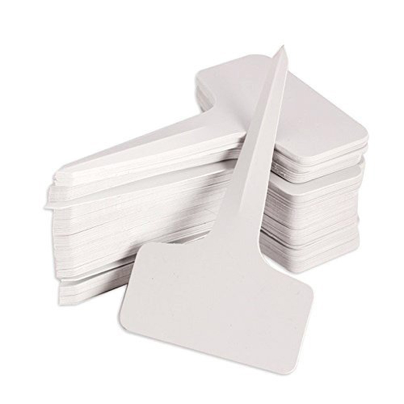 100pcs/lot Plant Tag T-type Plastic Nursery Garden Plant Label Flower Thick Tag Label Mark Garden Decoration Ornaments( White)