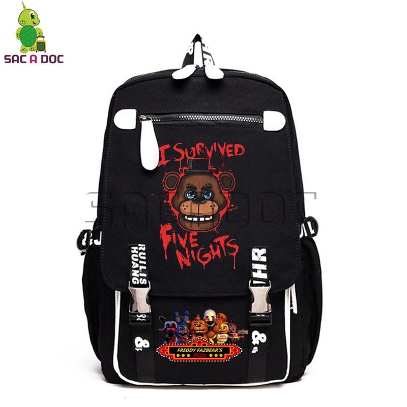 Anime cinq nuits chez Freddy's sac à dos en toile Bonnie Fazbear Freddy Chica sacs d'école femmes hommes ordinateur portable sacs à dos de voyage