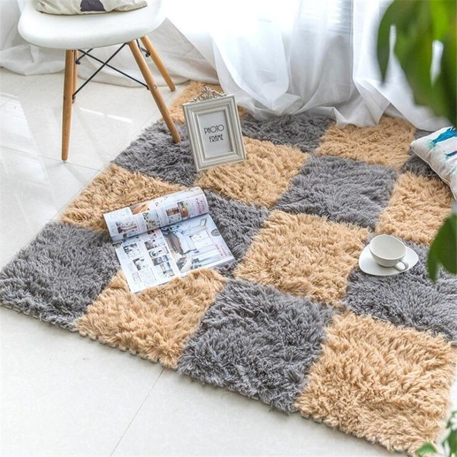 1PC DIY EVA Foam Puzzle Floor Mat Long Villi Mat Plush Soft Anti-slip Rugs Door Mat Carpet for Living Room Kid Playmat 30x30cm