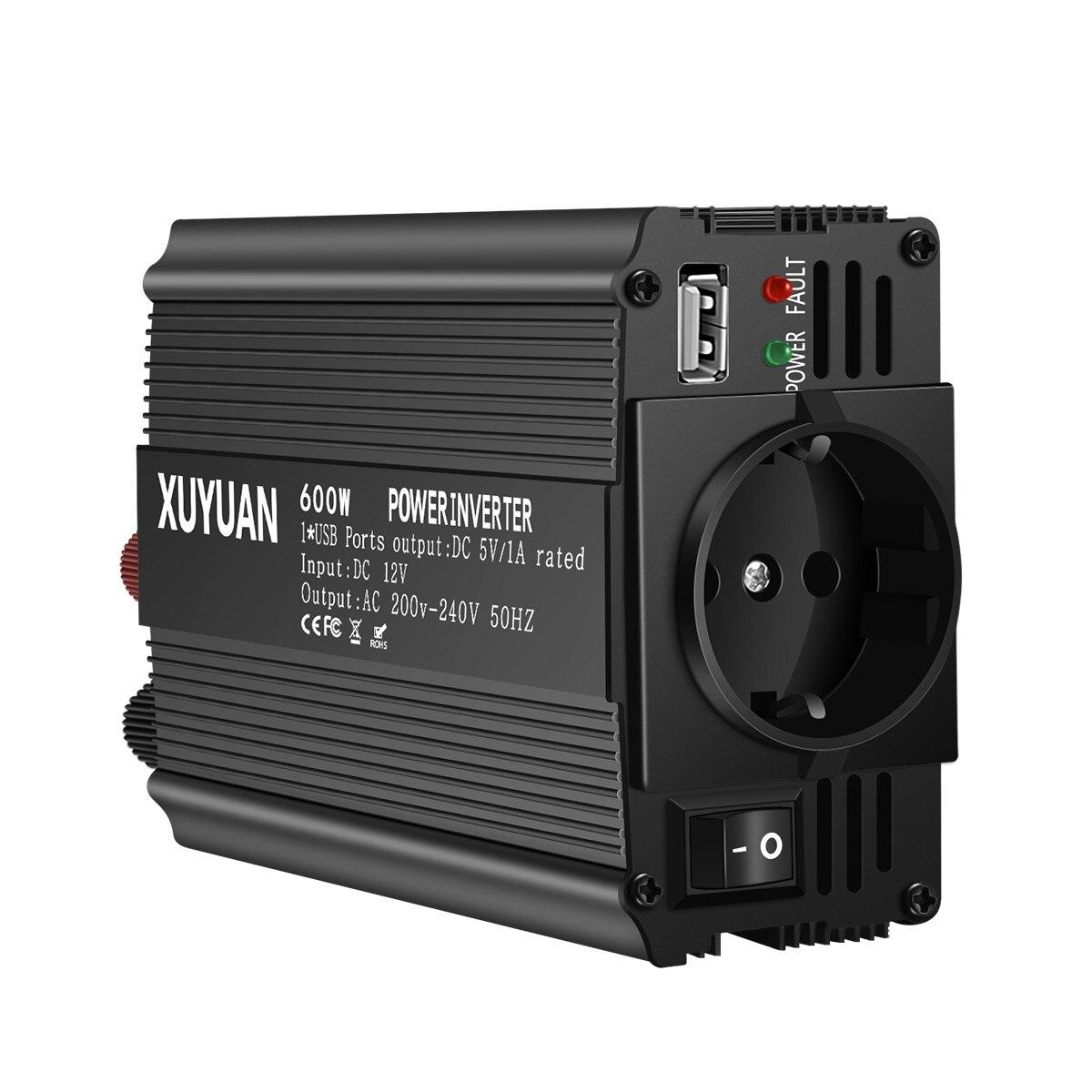 600 W DC12V à AC220V Auto voiture convertisseur de puissance onduleur adaptateur chargeur convertisseur de puissance 1 interface de sortie USB