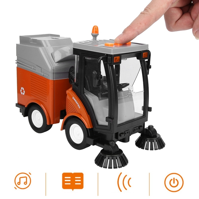 Simulation Road Sweeper Car Toy Garbage Truck Sanitation Disposal Streetcar Model Light Music Pull back Vehicle Early Education