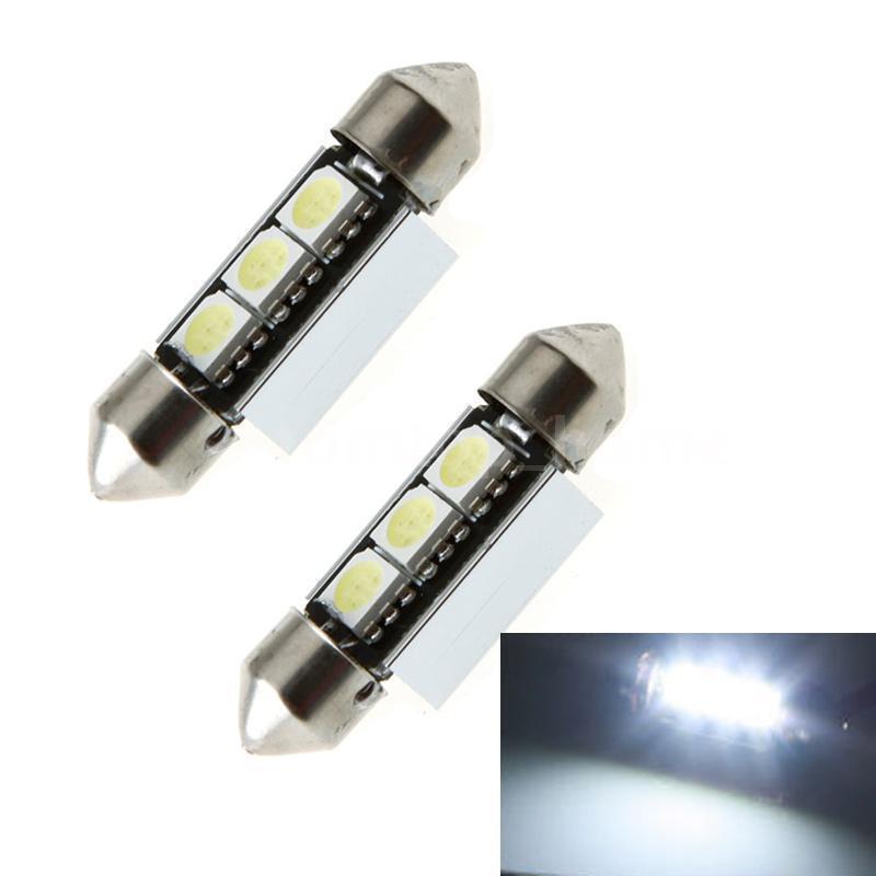 2 * 37mm 6000K 5050-SMD LED CANBUS Car Interior Dome Festoon Light Lamps Bulbs