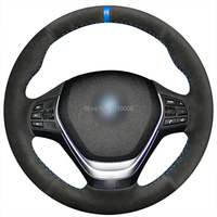 For BMW F30 320i 328i 320d F20 Hand stitched Anti Slip Black Suede Blue Marker DIY Steering Wheel Cover