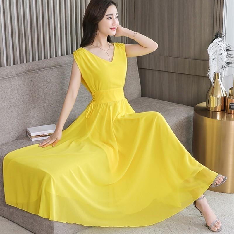 09de550fdd278 Dress Women 2019 Summer Long Beach Dresses Elegant Sleeveless V-neck Plus  Size Dress 4XL