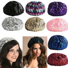921f09d813659 2018 Fashion New Women Lady Stretch Metallic Shining Sequin Beret Hat Party  Beanie Cap Club Dance