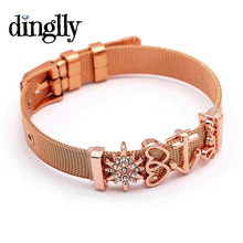 DINGLLY Rose Gold Silver Stainless Steel Mesh Bracelets For Women DIY Original Charm Watch Chain Brands Bracelet & Bangle Gifts