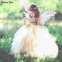 Flower Fairy Tutu Dress With Wreath Fancy Fairy Costume Girl Tulle Princess Dress Kids Wedding Party Tutu Dresses for Girls 1-14