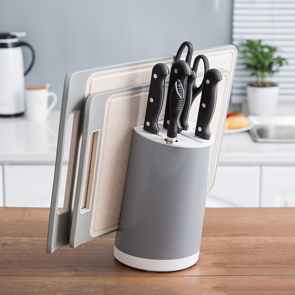 2019 New Multifunctional Storage Rack Tool Holder Kitchen Accessories Creative Plastic Kitchen Knife Block 2 Colors Optional