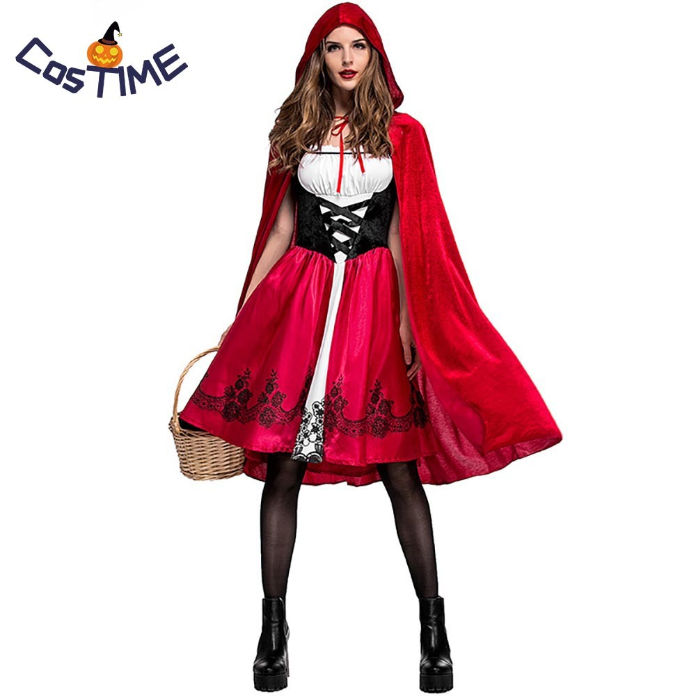 Hot Adult Little Red Riding Hood Costume Ladies Gothic Dress Outfit Black Fairytales Costumes Halloween Fancy Dress For Women