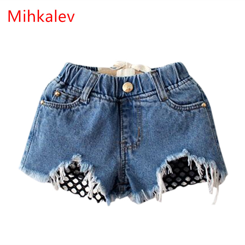 Mihkalev 2-8yearl baby girls jeans   shorts   2019 summer girl   short   pants for kids ripped jeans for children denim   shorts
