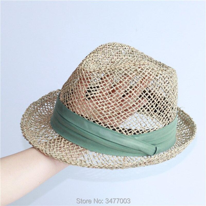2019 New Seaweed Women Beach Hats Cool Straw Sun Shade Hat Ladies Summer Visor Caps With Green Belt Panama Jazz Hat Wholesale