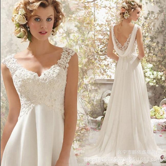 2018 Beach Wedding Dresses Long A-line Chiffon Backless Lace ... 141be30ed5