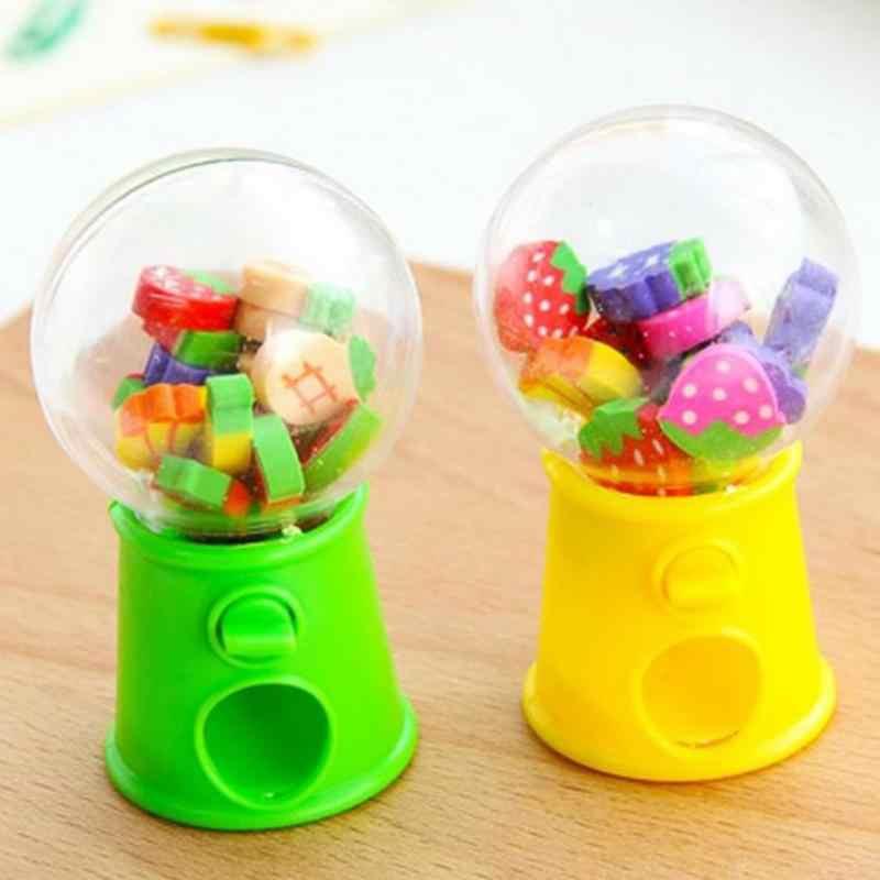 Горячая продажа Детская игрушка креативный милый Мини Фруктовый ластик-игрушка машина для конфет пузырьковый аппарат для продажи жевательных резинок-шариков детская игрушка-Паззл подарок на день рождения